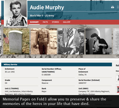 Memorial Pages on Fold3 allow you to preserve & share the memories of the heros in your life that have died.