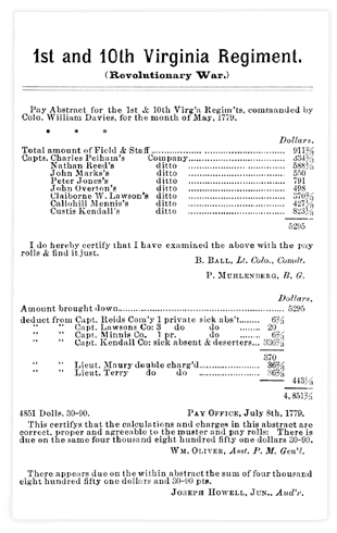 Revolutionary War Service Records
